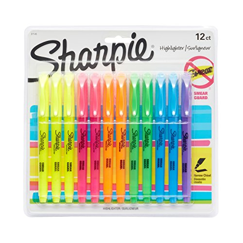 Sharpie Pocket Style Highlighters, Chisel Tip, Assorted, 12 Pack by Sharpie