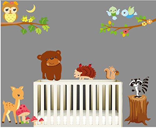 Jungle Waldtier Affe, Eichhörnchen und Eule Schaukel Spiel auf bunten blättern Baum Wandtattoo Wandaufkleber (ZY9089)