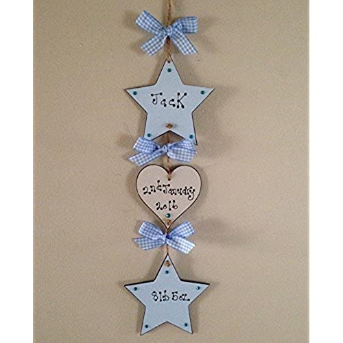 Personalised baby boy gifts amazon baby boy plaque new baby gift wooden keepsake sign personalised handmade blue negle Choice Image