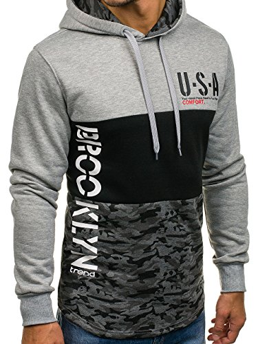 BOLF Herren Pullover mit Kapuze Sweatshirt Langarmshirt Sweatjacke Militär Army Camo Muster 1A1 Grau_DD66