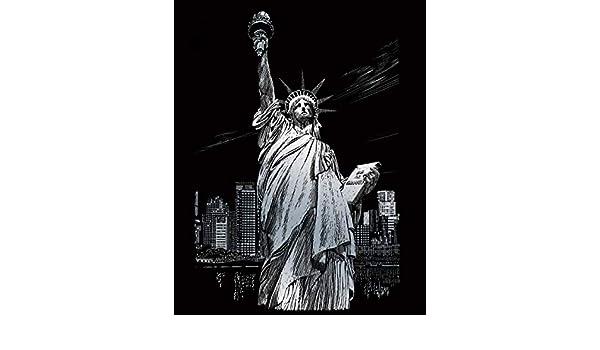 SILF34 A4 Lady Liberty Silver Engraving Art Scraper Foil Kit
