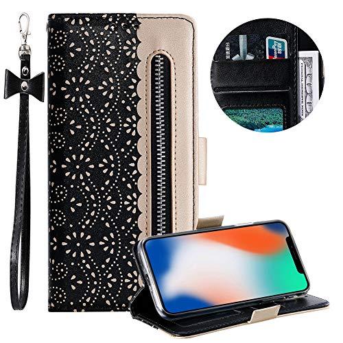 Reißverschluss Brieftasche für iPhone 11,Gurt Wallet Handyhülle für iPhone 11,Moiky Stilvoll Schwarz Spitze Blume Malerei Klappbar Stand Leder Handytasche