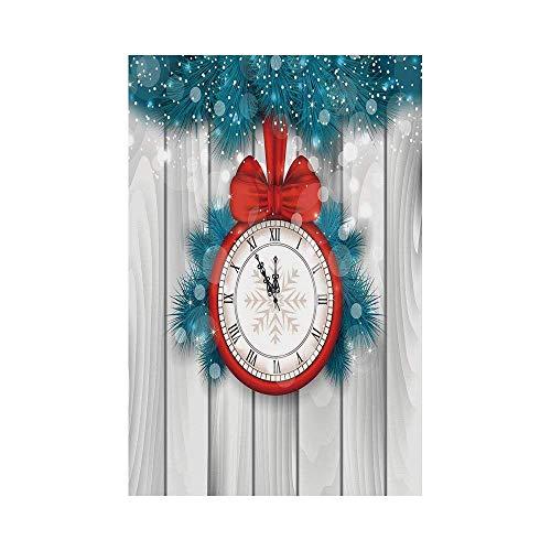 Red Fir, Red Lights (VAICR Home Garden Clock Decor New Year Midnight A Clock and Fir Branch Illustration Decorations for Home Red Light Greyor Deko Süße Garten Flagge)