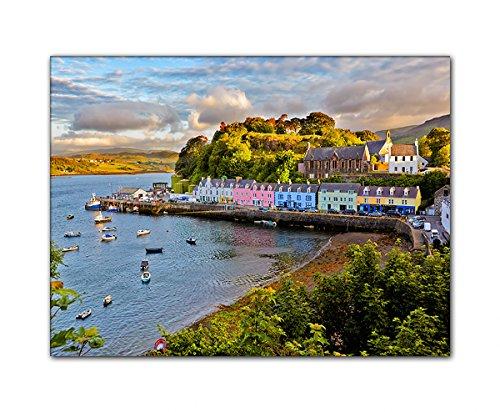 DEINEBILDER24 - Wandbild XXL Portree im Sonnenuntergang, Schottland 60 x 80 cm auf Leinwand und...