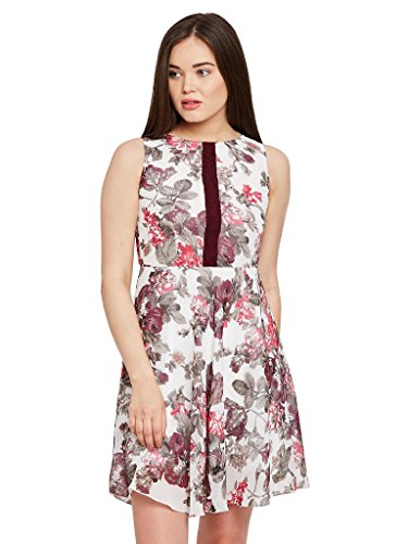 The Vanca Women Double layer skater dress in floral print with gathers at waist  available at amazon for Rs.304