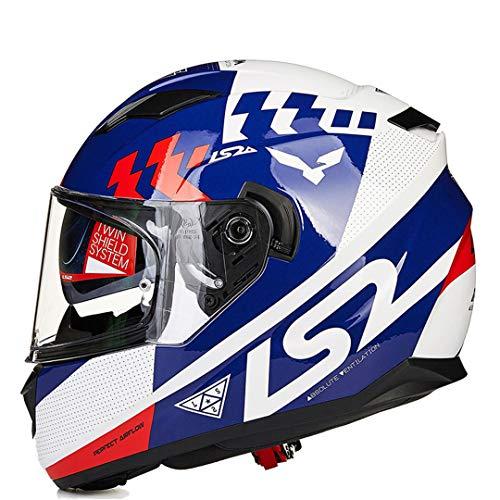Henpooseng Full Face Motorrad Helm Dual Shield mit abnehmbaren waschbaren Innenfutter Racing Moto Helm 10 M - Yamaha 10m