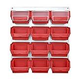 Rot Metall Wand mit Stapelboxen Lagerkästen Metallwerkstattwand 13 tlg Sichtlagerkästen Boxen