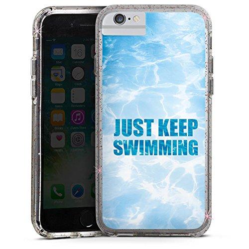 Apple iPhone 6s Bumper Hülle Bumper Case Glitzer Hülle Schwimmen Wellen Schwimmbad Bumper Case Glitzer rose gold