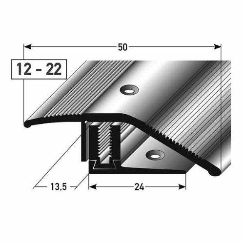 **TOPSELLER** Ausgleichsprofil / Anpassungsprofil Laminat, Höhe 12 - 22 mm, 50 mm breit, 3-teilig, Aluminium eloxiert, gebohrt, Flex -