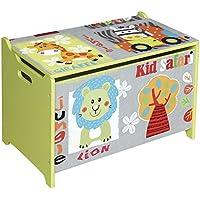 Preisvergleich für Bieco 74004813 - Spielzeugtruhe und Sitzbank in einem, Motiv Safari, ca. 60 x 40 x 37 cm