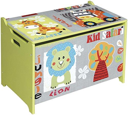 Bieco 74004813 giocattolo petto e panca in un motivo Safari, verde 60 x 40 x 37 centimetri