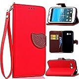 Huawei Ascend Y600 Hülle, Leder Handyhülle Stoßfest Schutzhülle Brieftasche Hülle Magnet Cover Geldbörse Handyhülle Anti-kratzer PU Leather Wallet Case mit Karte Slots & Halter (Rot)