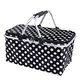 dkisee faltbar, Größe isoliert Picknickkorb 30L Kühltasche, groß Reißverschluss Korb mit Tragegriffen (schwarz)
