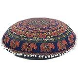 """Mandala almohada, manta, cojines de suelo tamaño grande de elefante, Indian redondo puf otomana, decorativo funda de almohada de 32"""", Boho Pom Pom al aire libre Funda para cojín"""