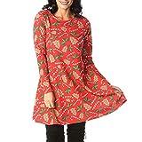 Weihnachten Kleid,Damen Freizeit Rundhals Minikleid Resplend Vintage A-Line Swing Dress Weihnachtsmann Gedrucktes Kostüm Kleid
