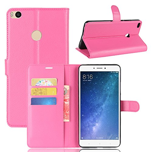 Xiaomi Mi Max 2 Case,Boys Backcase Premium PU Leather Wallet Case Backcase with Kickstand and Credit Card Slot Cash Holder Flip Cover for Xiaomi Mi Max 2 Hot Pink