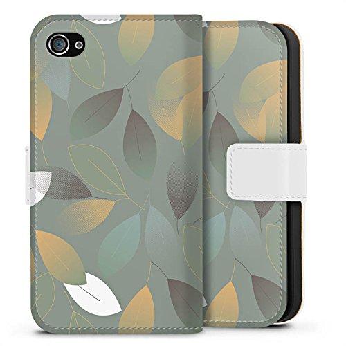 Apple iPhone X Silikon Hülle Case Schutzhülle Herbst Blätter Grün Sideflip Tasche weiß