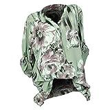 Innerternet Bluse Damen Langarm Blumenmuster V-Ausschnitt Elegante Tunika Casual Top Locker Langarmshirts Frauen Oberteile