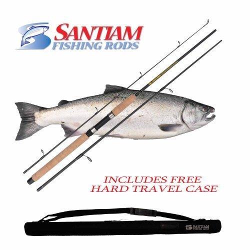 Santiam Angeln Angelrute für Reisen 3Stück 8'15,2cm 12, 9-13,6kg MH graphit Spinnrute w/Hard Case von Santiam Angeln -