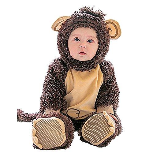 (Lazzboy Karneval Kostüm Kleidung Baby Halloween Tierkostüm Kapuze Body Footies Strampler Outfit(Höhe 80,Braun))