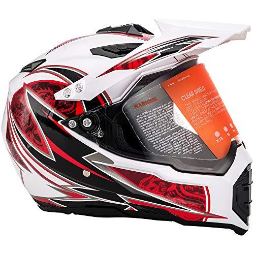 MOTORFANSCLUB Casco da Motocross per Fuori-Strada Moto Casco Cross Country D. O. T Certificazione Endurance Race ATV ATV Casco (XL Rosso & Bianco)