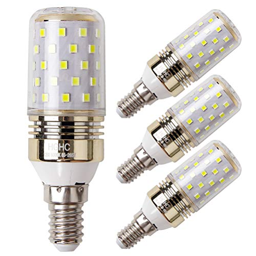 E14 LED maíz bombilla 12W, 6000K Blanco Frío LED Bombillas, 100W Incandescente Bombillas Equivalentes, Candelabro E14 SES Bombillas, 1200lm, Edison Tornillo Bombillas LED (4 Packs)