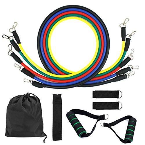 Set di fasce di resistenza, bande di resistenza, 5 bande elastiche in lattice con maniglie, gancio per fissaggio alla porta & cinghie puntapiedi e borsa, per attrezzi da fitness, yoga, pilates