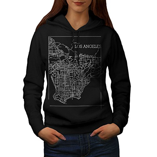 Wellcoda Los Angeles Map Fashion Womens Hoodie, Town Casual Hooded Sweatshirt