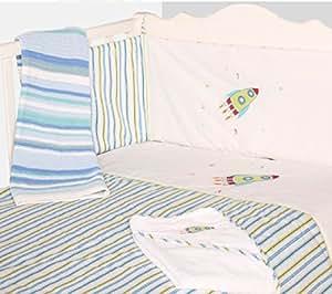 Baby Cot Boys Nursery Bedding Blue Rocket 2 Piece Bale Set Quilt + Bumper