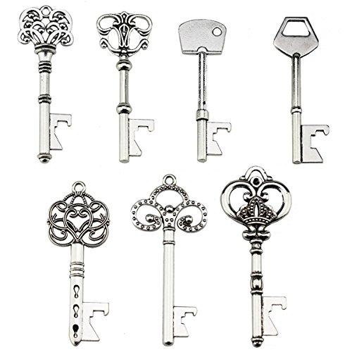 Portachiavi apribottiglie - assortiti vintage skeleton keys, matrimonio, feste, confezione da 70, argento)