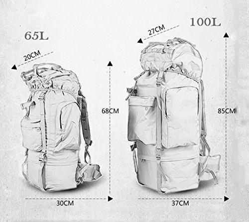 zaino trekking Uomini e donne di 65L / 100L Spalle di grande capacità Indietro i sacchetti di bagaglio dello zaino escursionistico esterno Zaini da escursionismo ( Colore : 7 , dimensioni : 65L-30*20* 5