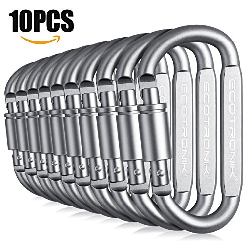 ECOTRONIK Aluminum Locking Carabiners Set: Premium 10-Pack Lightweight, Heavy-Duty Carabiner D Shaped Keychain Clips For Camping, Hiking, Keychains, Safety, Backpacking/Must-Have Wiregate Carabiners