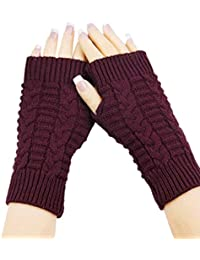 Amonfineshop(TM) Fashion Strick Arm Fingerwinterhandschuhe Unisex weiche warme Fausthandschuh (rot)