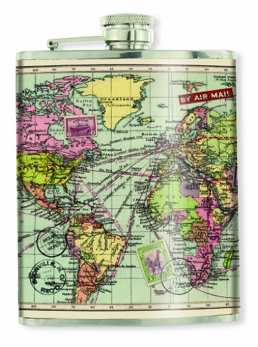 Hip Flask - Flachmann - Motiv Weltkarte