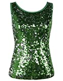 PrettyGuide Damen Tank Top Shimmer Glam Pailletten Vest Top Party Top Grün M/EU36-38
