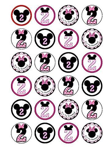 24x Disney Minnie Mouse 2e anniversaire Cupcake comestible pour gâteaux