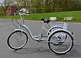 Ectxo Dreirad Für Erwachsene 24 Zoll 6 Geschwindigkeit 3 Rad Fahrrad Dreirad Pedal mit Warenkorb