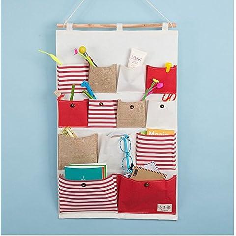 sacchetti in lino e cotone tessuto 13tasche parete Porta Hanging Organizer per armadio Storage Bag (1 File Cassettiera)