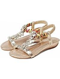 YWNC Sandali e ciabatte da donna con tacco medio e tacco medio, scarpe eleganti per donna, estate 33-41, blu, 38