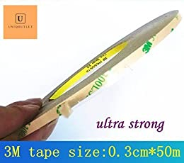 UniqOutlet 0.3CM*50M Super Strong Adhesion (3mm Wide),3M 300LSE Clear Double Side Stick Tape for Cellphone Touch Screen LCD Display Frame