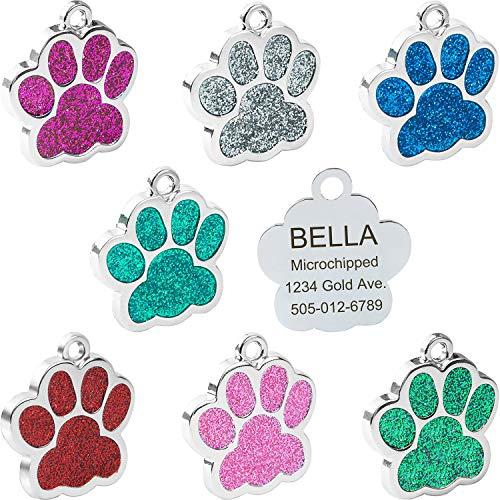 Vcalabashor Personalisierte Funkeln Erkennungsmarken für Hunde/Hundepfote Gestalten/Bis zu 4 Zeilen/Name und Telefonnummer des Hundes/Durchmesser 2,5 cm/Für kleine Hunde und Katzen