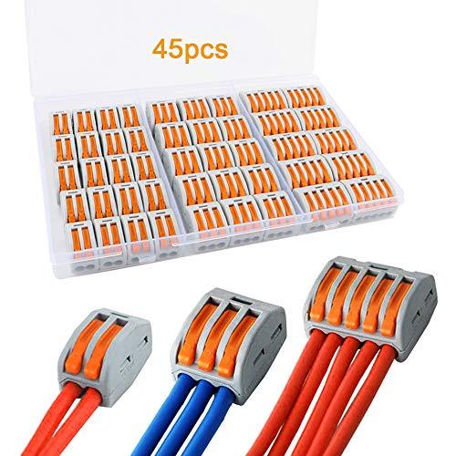 FULARR® 45Pcs Premium PCT-212/213 / 215 Lever-Nut Assortiment Pack, Conducteur Compact Fils Connecteurs, Printemps Bornier Pousser Câble Fil Connecteur –– 2 Port 20Pcs, 3 Port 15Pcs, 5 Port 10Pcs