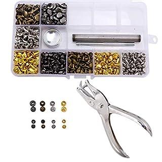 Analdia 240 Set Leder Nieten Doppelkappe Tubular Metal Studs 6mm 8mm mit Lochzange und 3 Stück Fixierwerkzeug für DIY Lederhandwerk Reparaturen Dekoration, 4 Farben