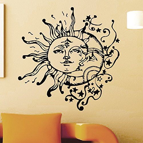 Wandaufkleber, Art Decal Decor Kreative Spezielle Wandtattoos Home Cool Einzigartige Vinyl Sun Moon Double Face Gemustertes Wandbild 57x57cm -