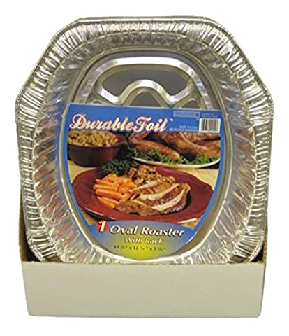 Durable Foil Oval Aluminum Roasting Pan, X-Large (Pack of 36) 18 1/2 x 14 x 3 3/8