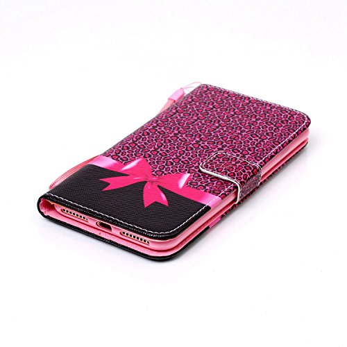"""Rose Fille Style Cuir Portefeuille Coque pour Apple iphone 7 Plus 5.5"""", Élégant iPhone 7 Plus étui Rabat Style, Case iPhone 7 Plus, Joli Image Imprimé - Coeurs roses Rose-1"""