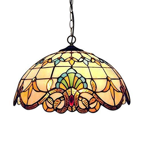 YI KUI Tiffany Kronleuchter, Europäische Retro Pendelleuchte, Rustikaler Glasmalerei Lampenschirm, Deckenlampe Für Schlafzimmer Wohnzimmer Dekoration Beleuchtung,30cm (Lampenschirm Glasmalerei)