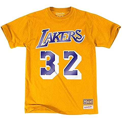 NBA Los Angeles Lakers Magic Johnson reproductor nombre y número camiseta (Mitchell & Ness), large