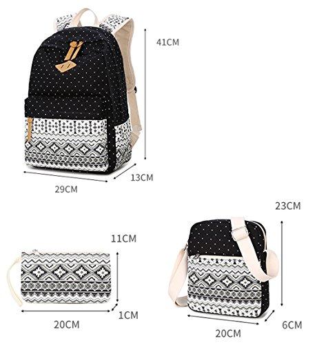 Tibes Zaino Donna Zaino Di Tela Zaino Ragazza Borsa Zaino Backpack Women Schoolbag Dreiteilig Nero