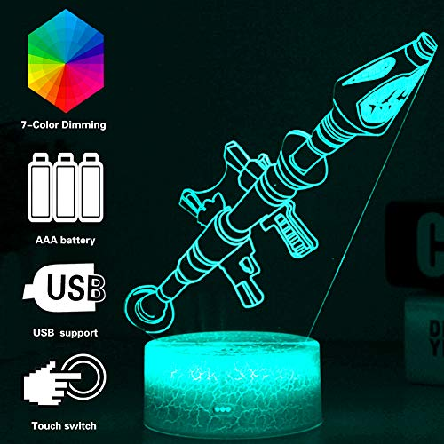 3D Rocket Lights Bunte Touch Fernbedienung Spiel Licht Acryl Baseboard Projektion und USB Kabel, Zubehör Schlafzimmer Dekoration Geburtstag Weihnachtsgeschenk (Home Ps4 Playstation)